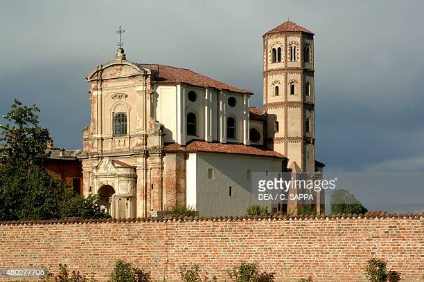 The abbey church with the Lombard Gothic style bell tower on an octagonal base Lucedio abbey Lucedio village in Trino Trino Partecipanza Woods...