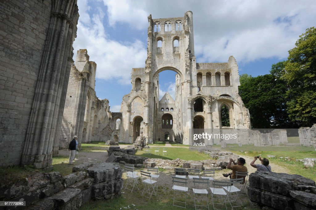 The abbey of Jumieges in the valley of the river Seine. The building is classified as a French National Historic Landmark ('Monument Historique').