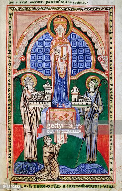 The abbots from their respective confraternities before the Virgin crowned miniature from the Commentary of St Jerome on the prophet Jeremiah made by...