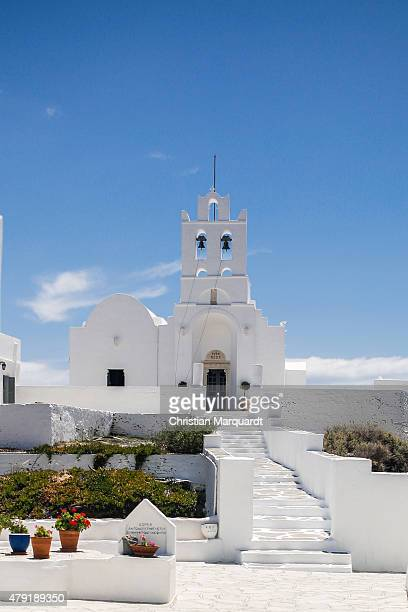 The abby 'Panagia Chrissopigi' next to 'Plati Gialos' beach during midday on June 19 2015 in Sifnos Greece Sifnos is a island in the western Aegean...