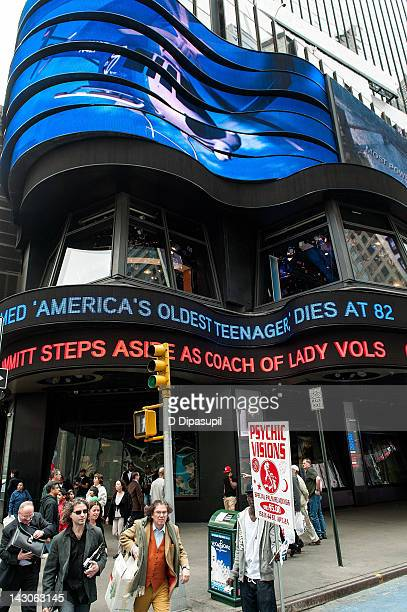 The ABC news ticker reports the death of TV personality Dick Clark in Times Square on April 18 2012 in New York City American Bandstand host and TV...