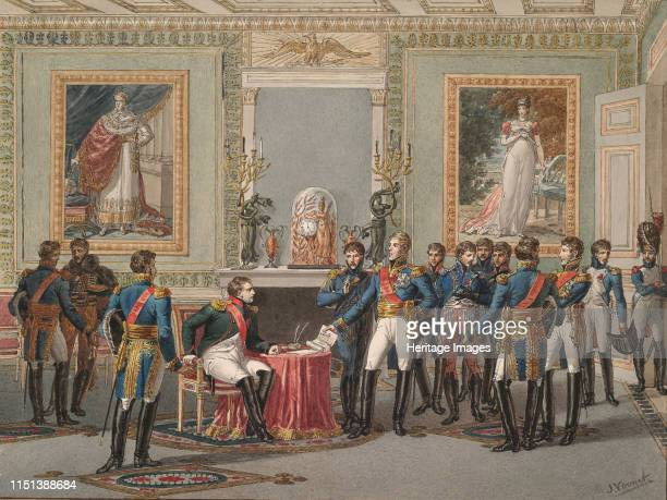 The Abdication of Napoleon at Fontainebleau, 1815. From a private collection. Artist Vernet, Jules .