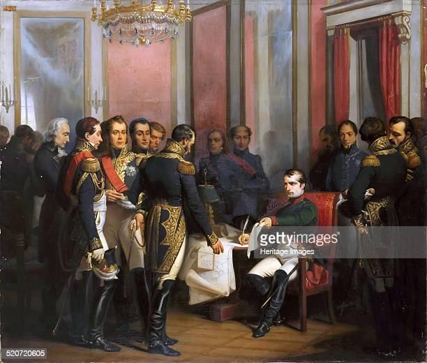 The Abdication of Napoleon at Fontainebleau on 11 April 1814. Found in the collection of Musée de l'Histoire de France, Château de Versailles.
