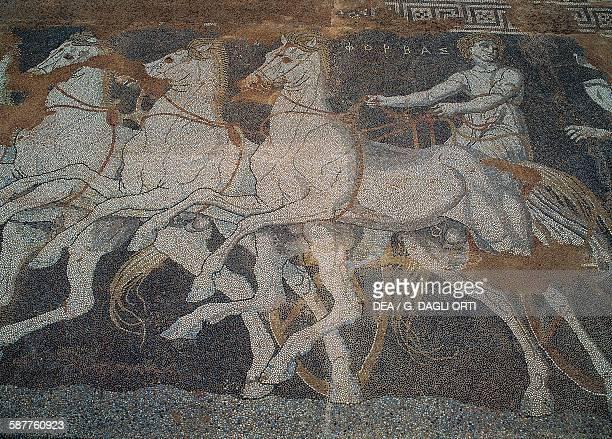 The abduction of Helen floor mosaic Pella Greece Greek civilisation 3rd century BC