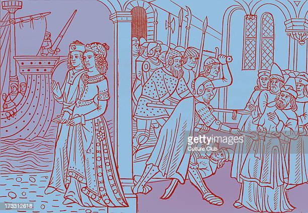 'The Abduction of Helen' from reproduction of a wood engraving in 'Istoire de la Destruction de Troye la Grant mise par Personnaiges' by Master...