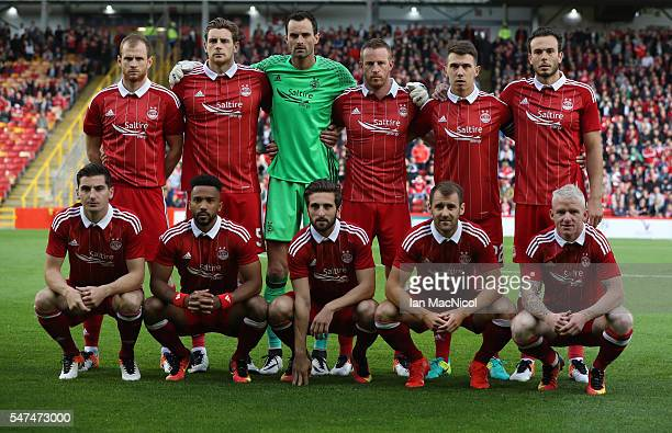 The Aberdeen team pose for a photograph during the UEFA Europa league second qualifying round first leg match between Aberdeen and Ventspils at...