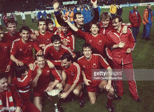 The Aberdeen team pose with the trophy after their 21 win over Real Madrid in the European Cup Winners Cup Final held at the Gamla Ullevi Stadium in...