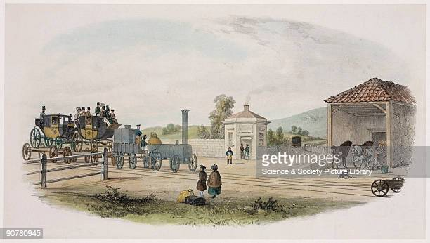 The Abingdon Road Station was on the Great Western Railway This view shows a locomotive hauling a horsedriven carriage on a wagon This was the way in...