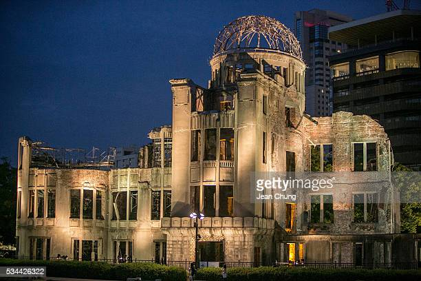 The Abomb dome is illuminated at dusk on May 26 2016 in Hiroshima Japan On May 27 President Barack Obama is scheduled to visit Hiroshima which will...