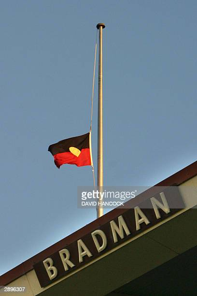 The aboriginal flag hangs a half mast over the Bradman stand during the one day tri nations international against Zimbabwe at the Adelaide Oval 24...
