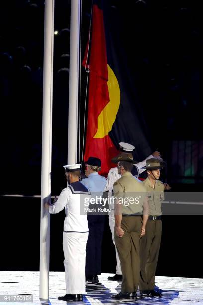 The aboriginal flag is raised during the Opening Ceremony for the Gold Coast 2018 Commonwealth Games at Carrara Stadium on April 4 2018 on the Gold...