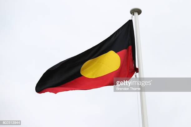 The Aboriginal flag is unfurled at Government House on June 28 2017 in Sydney Australia The flags will fly permanently alongside the Australian and...