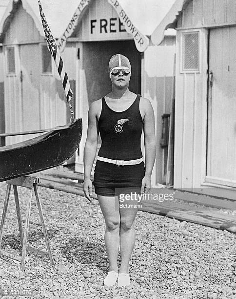 The above is a new picture of Miss Gertrude Ederle in goggles taken recently while training abroad for her attempt at swimming the English Channel A...