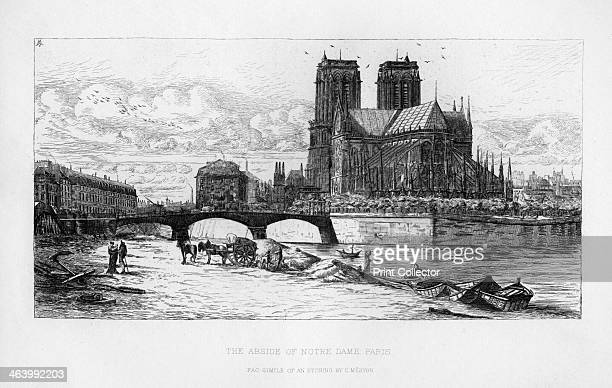 The abside of Notre Dame Cathedral Paris France c19th century