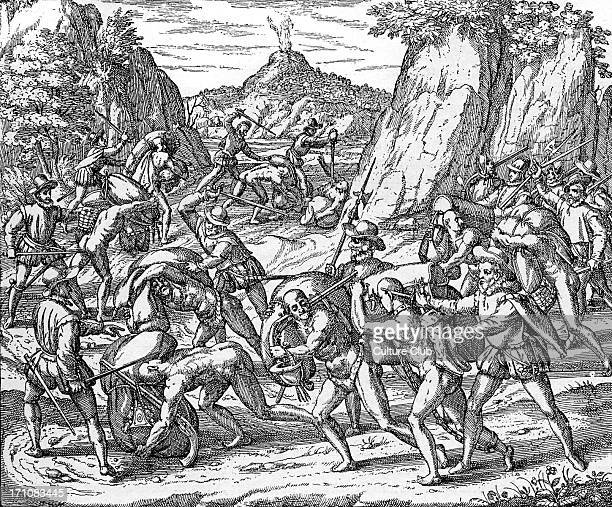 The abuse of Native Americans by Spaniards Engraving from 'Americae partes' Frankfurt 1590