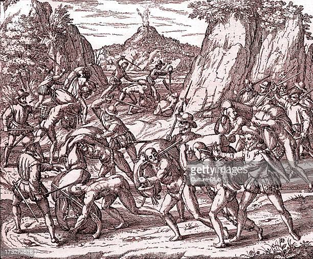 The abuse of Native Americans by Spaniards Engraving from 'Americae partes' Frankfurt 1590 Tinted version