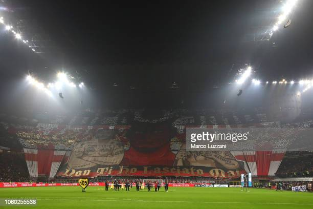 The AC Milan fans show their support before the Serie A match between AC Milan and Juventus at Stadio Giuseppe Meazza on November 11, 2018 in Milan,...