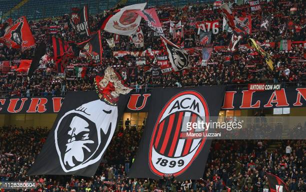 The AC Milan fans show their support before the Serie A match between AC Milan and US Sassuolo at Stadio Giuseppe Meazza on March 2 2019 in Milan...