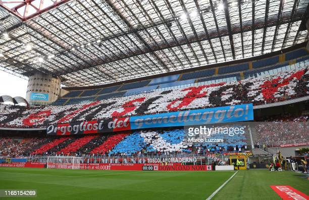 The AC Milan fans show their support before the Serie A match between AC Milan and Brescia Calcio at Stadio Giuseppe Meazza on September 1 2019 in...