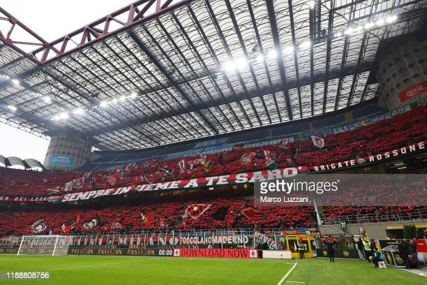 The AC Milan fans show their support before the Serie A match between AC Milan and US Sassuolo at Stadio Giuseppe Meazza on December 15 2019 in Milan...