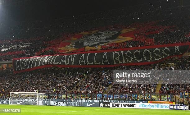 The AC Milan fans show their support before the Serie A match between FC Internazionale Milano and AC Milan at Stadio Giuseppe Meazza on September 13...