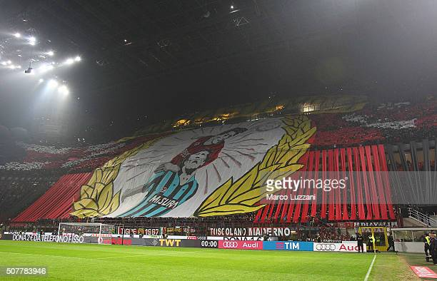 The AC Milan fans show their support before the Serie A match between AC Milan and FC Internazionale Milano at Stadio Giuseppe Meazza on January 31...