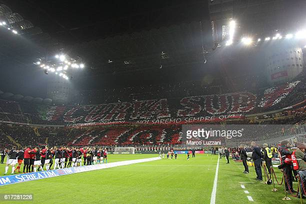 The AC Milan fans show their support before the Serie A match between AC Milan and Juventus FC at Stadio Giuseppe Meazza on October 22 2016 in Milan...