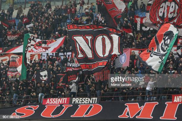 The AC Milan fans show their support before the serie A match between AC Milan and FC Crotone at Stadio Giuseppe Meazza on January 6 2018 in Milan...