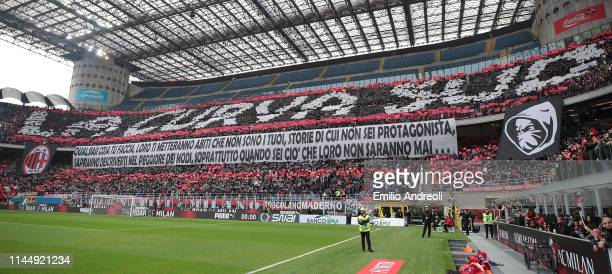 The AC Milan fans show their support during the Serie A match between AC Milan and Frosinone Calcio at Stadio Giuseppe Meazza on May 19 2019 in Milan...