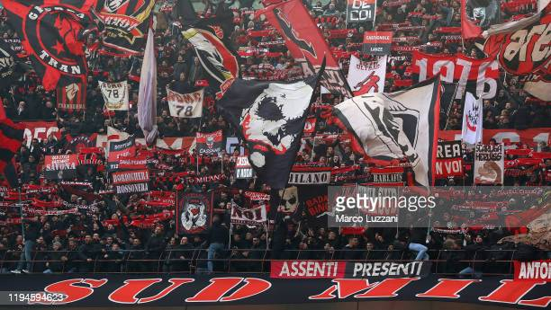 The AC Milan fans show their support during the Serie A match between AC Milan and Udinese Calcio at Stadio Giuseppe Meazza on January 19, 2020 in...