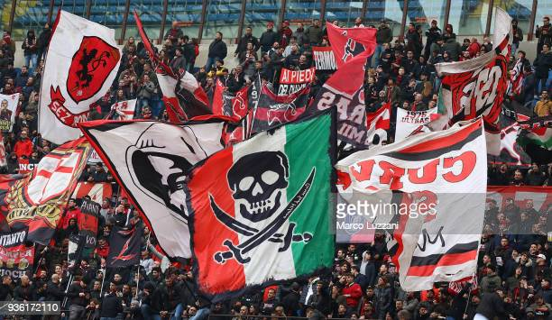 The AC Milan fans show their support during the serie A match between AC Milan and AC Chievo Verona at Stadio Giuseppe Meazza on March 18 2018 in...