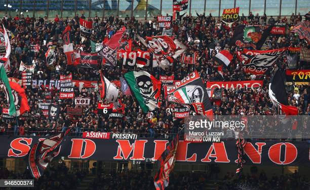 The AC Milan fans show their support during the serie A match between AC Milan and SSC Napoli at Stadio Giuseppe Meazza on April 15 2018 in Milan...