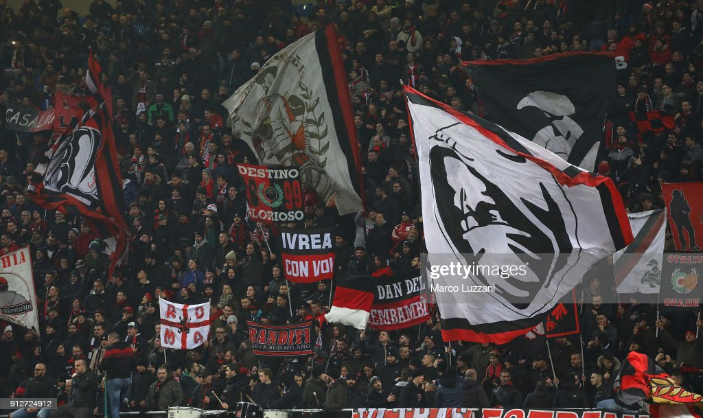 The AC Milan fans show their support during the TIM Cup match between AC Milan and SS Lazio at Stadio Giuseppe Meazza on January 31, 2018 in Milan, Italy.