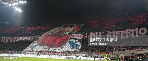 The AC Milan fans show their support prior to the Serie A match between AC Milan and FC Internazionale at Stadio Giuseppe Meazza on March 17 2019 in...