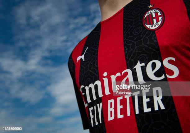 The AC Milan home shirt with shirt sponsor Emirates Airline on June 16, 2021 in Manchester, United Kingdom.