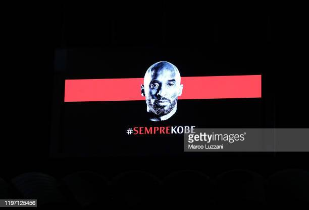 The AC Milan honor Kobe Bryant before the Coppa Italia Quarter Final match between AC Milan and Torino at San Siro on January 28 2020 in Milan Italy
