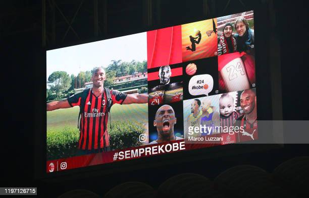 The AC Milan honor Kobe Bryant before the Coppa Italia Quarter Final match between AC Milan and Torino at San Siro on January 28, 2020 in Milan,...