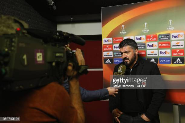 The AC Milan Manager Gennaro Gattuso talks to the media during a television interview after the UEFA Europa League Round of 16 second leg match...