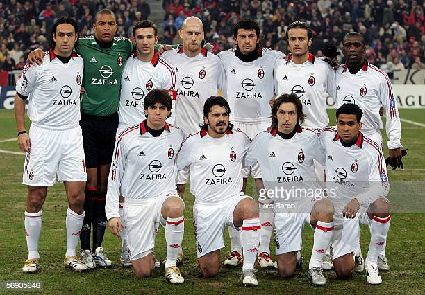 The AC Milan players pose before the UEFA Champions League Round of 16 First Leg match between Bayern Munich and AC Milan at the Allianz Arena on...