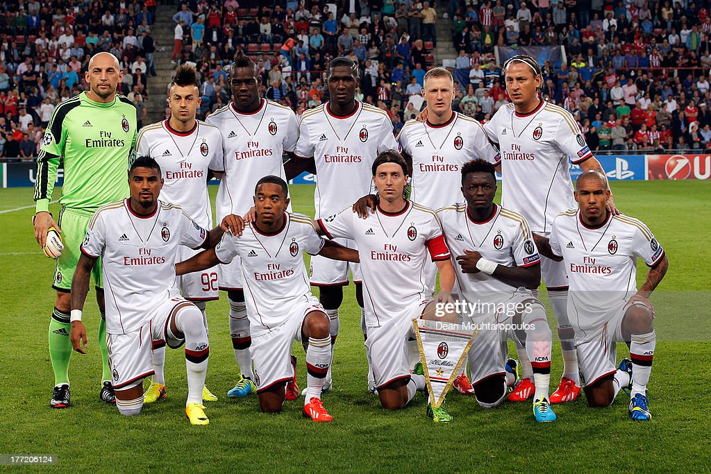 The AC Milan team line up prior to the UEFA Champions League Play-off First Leg match between PSV Eindhoven and AC Milan at PSV Stadion on August 20, 2013 in Eindhoven, Netherlands.