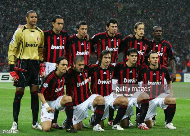 The AC Milan team line up prior to the UEFA Champions League semi final second leg match between AC Milan and Manchester United at the San Siro...