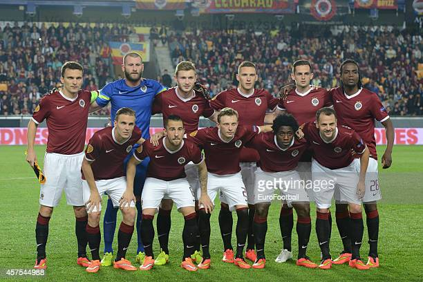 The AC Sparta Praha players pose for a team photo before the UEFA Europa League Group I match between AC Sparta Praha and BSC Young Boys at the...
