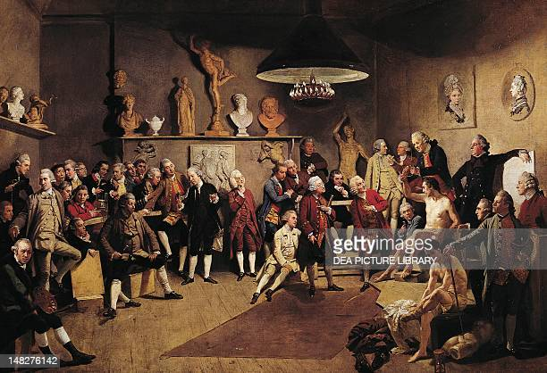 The Academicians of the Royal Academy 17711772 by Johan Zoffany olio su tela cm 101x147 Windsor Royal Borough Museum Collection