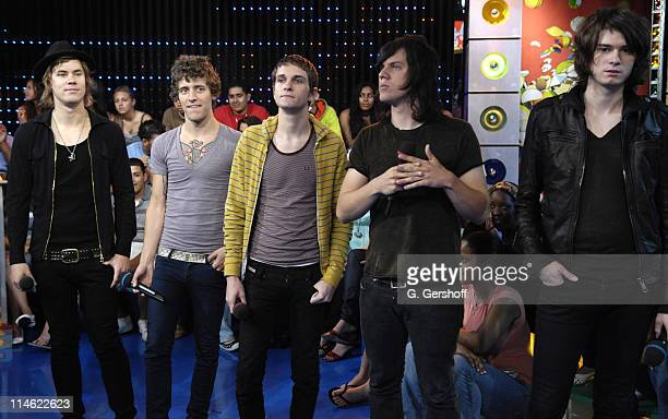 The Academy Is during Fall Out Boy Paul Wall 44 The Academy Is and Cobra Starship Visit MTV's 'TRL' June 5 2007 at MTV Studios in New York City New...