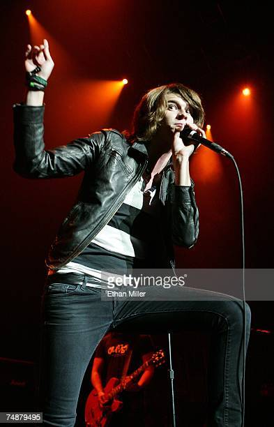 The Academy Is singer William Beckett performs during a soldout show at The Pearl concert theater at the Palms Casino Resort on June 24 2007 in Las...