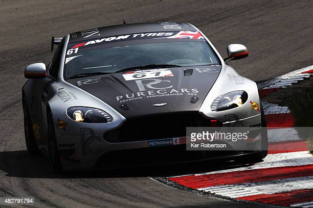 The Academy Motorsport Aston Martin of Will Moore and Dennis Strandberg drives during the British GT Championship race at Brands Hatch on August 2,...