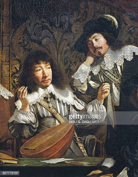 The academy of music or Meeting of amateurs ca 1640 by unknown artist of French school detail of the tuning of the lute oil on canvas 116x146 cm...