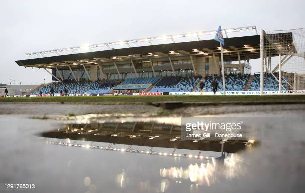 The Academy Stadium is seen ahead of the UEFA Women's Champions League Round of 32 Second Leg match between Manchester City and Goteborg at The...