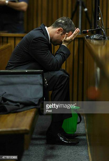 The accused at the Pretoria High Court on March 11 in Pretoria, South Africa.Oscar Pistorius stands accused of the murder of his girlfriend, Reeva...