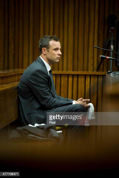 The accused weeps at the Pretoria High Court on March 7 in Pretoria, South Africa. Pistorius, stands accused of the murder of his girlfriend, Reeva...